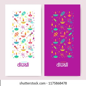 Diwali colorful posters with main symbols. Vector illustration