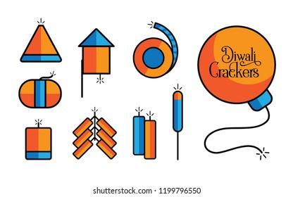 Diwali Cracker Icon Set Vector Illustration