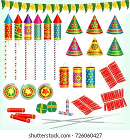 Diwali crackers, rockets, flower pots, bombs and sparklers