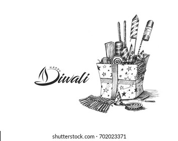 Diwali crackers,Hand Drawn Sketch Vector illustration.