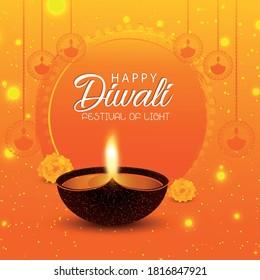 Diwali creative poster or greeting card. Diwali holiday with shiny background and diya lamp.