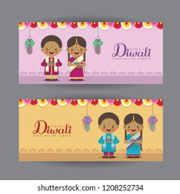 Diwali or Deepavali banner template design. Cute cartoon India kids, colorful garland, diwali diya (oil lamp) & kandil lantern. Festival of Lights celebration vector illustration.