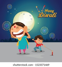 Diwali, Deepavali or Dipavali the festival of lights, Happy Diwali celebration, Festival, Luminous rangoli and greeting, Diwali Vector, Diwali illustration, Card, Cartoon, Art.