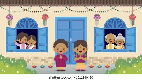Diwali or deepavali - festival of lights greeting card. Cartoon Indian family with kandil (india lantern) & diya (oil lamp) in flat vector illustration.