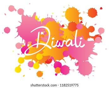Diwali or Deepavali - festival of lights. Modern calligraphy lettering diwali on colorful watercolor splash abstrct background. vector. 5k