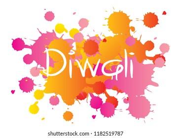 Diwali or Deepavali - festival of lights. Modern calligraphy lettering diwali on colorful watercolor splash abstrct background. vector.