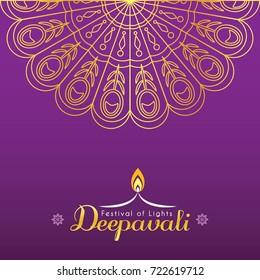 Diwali or Deepavali greeting card template design. Diwali pattern design element in gold color. Festival of Lights celebration vector illustration.
