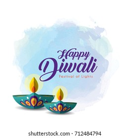 Diwali or Deepavali greetings template with beautiful burning diwali diya (india oil lamp) on blue watercolor background. Festival of Lights celebration vector illustration.
