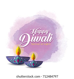 Diwali or Deepavali greetings template with beautiful burning diwali diya (india oil lamp) on purple watercolor background. Festival of Lights celebration vector illustration.