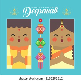 Diwali or deepavali template design. Cute cartoon india boy & girl with hanging kandil (lantern) in flat vector design. (translation: festival of lights)