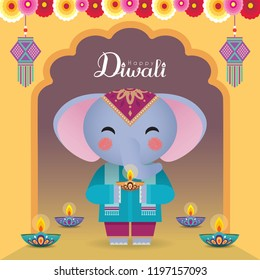 Diwali or Deepavali vector greeting illustration. Cute cartoon elephant holding diya (india oil lamp) with hanging kandil (india lantern) & flowers. (caption: Festival of Lights celebration)