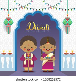 Diwali or Deepavali vector greeting illustration. Cute indian kids with colorful light bulbs, kandil (india lantern) & diya (oil lamp). Festival of Lights celebration.