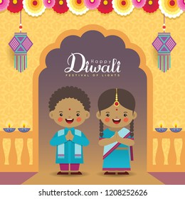 Diwali or Deepavali vector greeting illustration. Cute indian kids with colorful garland, kandil (india lantern) & diya (oil lamp). Festival of Lights celebration.