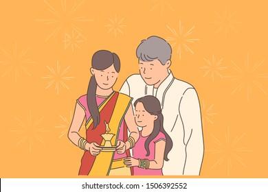 Diwali or Deepawali festival concept. Happy family greetings or celebration of Diwali feast. Simple flat vector.