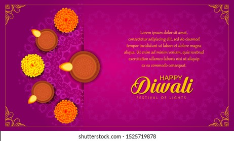 Diwali or Deepawali India festival wishes, greeting, flyer, sale, offer, banner with lighted lamp or Diya on rangoli with marigold flower and having side space to add content. Violet color background.