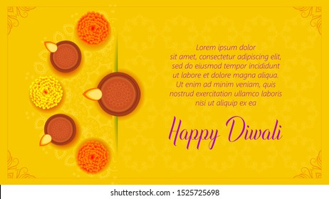 Diwali or Deepawali India festival wishes, greeting, flyer, sale, offer, banner with lighted lamp or Diya on rangoli with marigold flower and having side space to add content. Yellow color background.