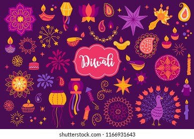 Diwali design elements set with mandala, diya, lantern, garland, stars, paisley, candles, firecracker, firework, confetti, peacock, fire, lotus, flower on dark violet background
