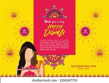 Diwali Design template and background for mailer or poster, A young woman holding lots of light lamps in a tray.