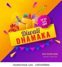 Diwali Dhamaka poster or template design with 65% discount offer and firecracker element on orange and purple background.