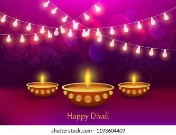 Diwali diya lamp lantern lights concept background. Realistic illustration of diwali diya lamp lantern lights vector concept background for web design