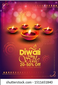 Diwali festival banner poster design with realistic oil lamp on background for Diwali Festival celebration.
