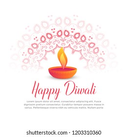 diwali festival burning diya and mandala art