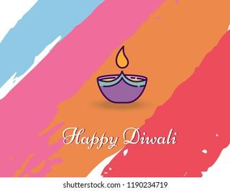 Diwali festival celebration with beautiful Diya .Diwali/Deepawali banner or background vector illustration.Colorfull diwali background/Rangoli.Vector illustration on the theme of diwali.