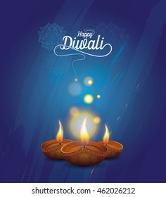 Diwali Festival Design Template with Creative Lamp