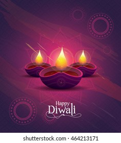 Diwali Festival Design Template with Creative Lamps