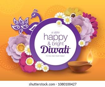 Diwali festival greeting card with beautiful blossom flower and Diwali diya (oil lamp)