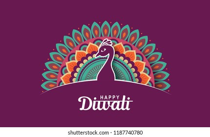 Diwali festival greeting card with beautiful peacock