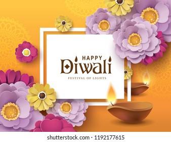 Diwali festival greeting card with beautiful blossom flowers and Diwali diya (oil lamp)