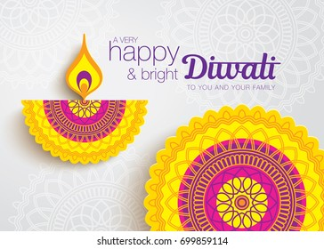 Diwali festival greeting card with beautiful rangoli and diya background