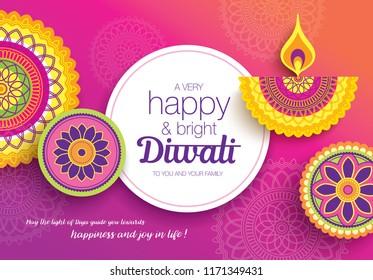 Diwali festival greeting card with colorful rangoli and diya lamp