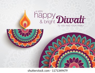 Diwali festival greeting card with colorful rangoli and diya lamp