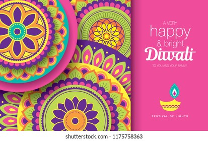 Diwali festival greeting card with colorful rangoli background and oil lamp