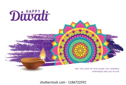 Diwali festival greeting card with colorful rangoli background and diya lamp
