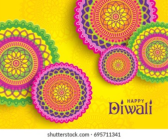 Diwali festival greeting card with colorful rangoli ornament background
