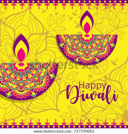 Diwali festival greeting card diwali diya stock vector royalty free diwali festival greeting card with diwali diya oil lamp and mandala ornament m4hsunfo