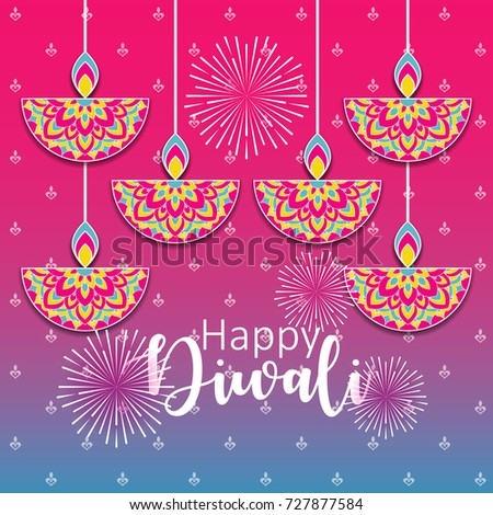 Diwali festival greeting card diwali diya stock vector royalty free diwali festival greeting card with diwali diya oil lamp and mandala ornament m4hsunfo