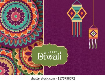 Diwali festival greeting card with rangoli background and hanging kandil