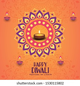 Diwali festival greeting card with Vector illustration of Diwali festival with stylish beautiful oil lamp