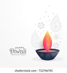 diwali festival greeting with diya and paisley decoration design