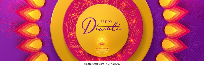 Diwali festival greeting long horizontal banner in paper cut style with beautiful bright lights, oil lamp Diya and flowers of lights. Holiday design for branding, greeting card, cover, flyer or poster