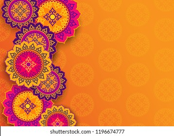 Diwali festival holiday design with colorful Henna Mandala design. Set of Indian country ornament illustration concept. Vector illustration.