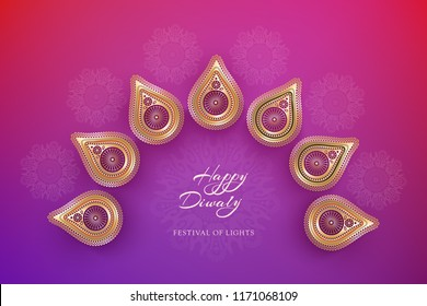 Diwali festival holiday design with golden national lamps diya in the style of Rangoli. Indian National Festival of Lights Deepavali. Trendy ultraviolet background color. Vector illustration