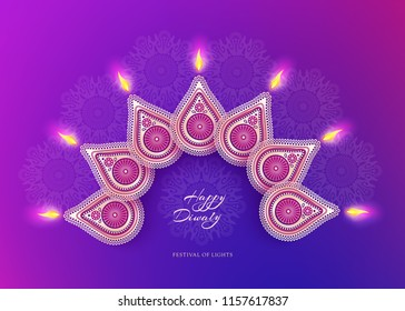 Diwali festival holiday design with national lamps diya in the style of Rangoli. Indian National Festival of Lights Deepavali. Trendy ultraviolet background color. Vector illustration