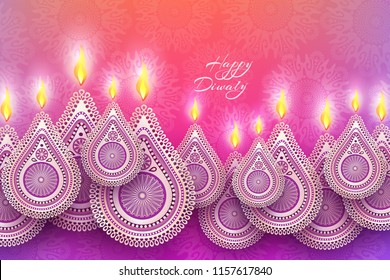 Diwali festival holiday design with national lamps diya in the style of Rangoli. Indian National Festival of Lights Deepavali. Vector illustration