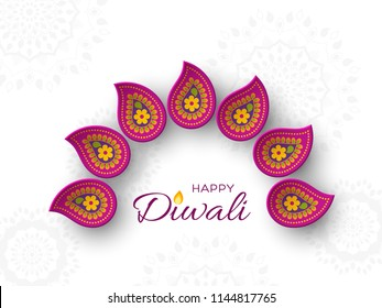 Diwali festival holiday design with paper cut style of Indian Rangoli. Purple color on white background. Vector illustration.
