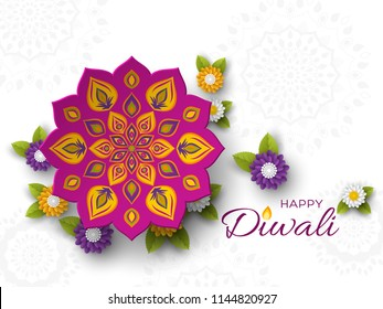 Diwali festival holiday design with paper cut style of Indian Rangoli and flowers. Purple color on white background. Vector illustration.